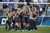 Cary, North Carolina - Sunday December 6, 2015: The Penn State Nittany Lions celebrate winning the Women's Soccer National Championship after their win over the Duke Blue Devils at the 2015 NCAA Women's College Cup at WakeMed Soccer Park.  The Nittany Lions defeated the Blue Devils 1-0.