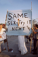 Kansas City, Missouri, August 1976 - Gay protesters outside the 1976 Republican National Convention.