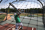 16 May 2016: Notre Dame's Ryan Lidge (36) takes a turn in the batting cage, taking pitches from head coach Mik Aoki. The University of North Carolina Tar Heels hosted the University of Notre Dame Fighting Irish in an NCAA Division I Men's baseball game at Boshamer Stadium in Chapel Hill, North Carolina.