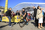 Gianni Moscon (ITA) Team Sky at sign on for the 115th edition of the Paris-Roubaix 2017 race running 257km Compiegne to Roubaix, France. 9th April 2017.<br /> Picture: Eoin Clarke | Cyclefile<br /> <br /> <br /> All photos usage must carry mandatory copyright credit (&copy; Cyclefile | Eoin Clarke)