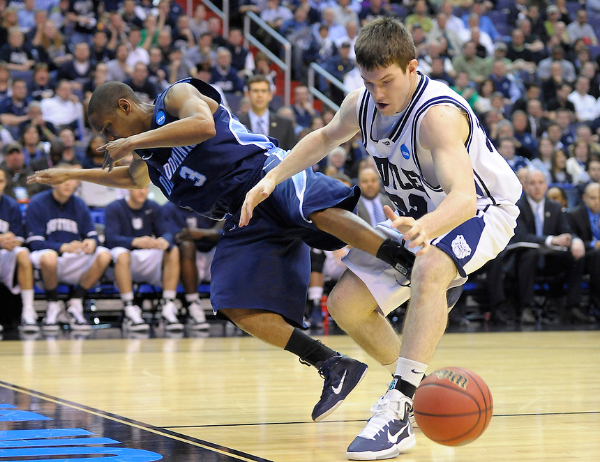 Darius James of the Monarchs and Chase Stigall fight for the loose ball. Butler defeated Old Dominion 60-58 during the NCAA tournament at the Verizon Center in Washington, D.C. on Thursday, March 17, 2011. Alan P. Santos/DC Sports Box