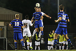 26 September 2014: Duke's Brody Huitema (CAN) (9) and Boston College's Henry Balf (behind) challenge for a header. The Duke University Blue Devils hosted the Boston College Eagles at Koskinen Stadium in Durham, North Carolina in a 2014 NCAA Division I Men's Soccer match. Duke won the game 1-0.