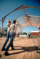 Conservative Mennonite men work together nailing the rafters of a new barn for a community member during a one-day barnraising. A few Amish help. Mennonite farmers. Lancaster Pennsylvania United States Mennonite farm.