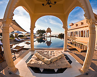 A tranquil morning at the beautiful poolside gazebo of the Oberoi Udaivilas.<br /> (Photo by Matt Considine - Images of Asia Collection)