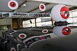 Eyeballs from a popular manga series by Shigeru Mizuki are featured atop the taxis in Sakai-Minato, Tottori Prefecture , Japan. Photographer: Robert Gilhooly.