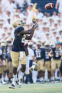 Annapolis, MD - SEPT 10, 2016: Navy Midshipmen running back Calvin Cass Jr. (20) catches a pass out the backfield during their match up against Connecticut at Navy-Marine Corps Memorial Stadium in Annapolis, MD. Navy held on to defeat Connecticut 28-24. (Photo by Phil Peters/Media Images International)