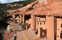 Manitou Cliff Dwellings, 1100-1300 AD, reconstructed early 20th century, Manitou Springs, near Colorado Springs, Colorado, USA. These Anasazi Native American cliff houses were originally in the Four Corners area of South West Colorado, where the Anasazi lived 1300 BC - 1200 AD, and were relocated here in 1904 and opened as a museum in 1907 to educate the public about the lives of the Anasazi people. Picture by Manuel Cohen