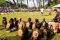 Waimea Bay, North Shore of Oahu, Hawaii.  December 4 2014) - The Opening Ceremony of the 2014 Quiksilver In Memory of Eddie Aikau contest was held this afternoon in the park at Waimea Bay. This winter, the big wave riding event celebrates a special milestone of 30 years. <br /> The Quiksilver In Memory of Eddie Aikau is a one-day big wave riding event that only takes place if and when waves meet a 20-foot minimum height, during the holding period of December 1 through February 28, each Hawaiian winter. The official Opening Ceremony with the Aikau Family will be held on Thursday, December 4th, 3pm, at Waimea Bay.<br />  <br /> &quot;The Eddie&quot; is the original big wave riding event and stands as the measure for every big wave event that exists in the world today. It has become an icon of surfing through its honor, integrity and rarity.<br />  <br /> The event honors Hawaiian hero Eddie Aikau, whose legacy is the respect he held for the ocean; his concern for the safety of all who entered it on his watch; and the way with which he rode Waimea Bay on its most giant and memorable days. <br />  <br /> Adherence to strict wave height standards has ensured its integrity; it is only held on days when waves meet or exceed the Hawaiian 20-foot minimum (wave face heights of approximately 40 feet). This was the threshold at which Eddie enjoyed to ride the Bay. It has been said that what makes The Eddie special is the times it doesn't run, because that is precisely its guarantee of integrity and quality days of giant surf.<br />  <br /> The competition has only been held a total of 8 times: it's inaugural year at Sunset Beach, and then seven more times at its permanent home of Waimea Bay. The Eddie was last held on December 9, 2009, won by California's Greg Long.   Photo: joliphotos.com