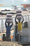 A cargo of Coca Cola arrives at Juba port in South Sudan. The country is almost entirely dependent on imports of such products from neighbouring countries such as Sudan and Uganda.