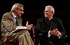 Sept. 4, 2012;  Panelist Rev. Richard Cizik, president of the New Evangelical Partnership for the Common Good, answers a question as Most Reverend Joseph E. Kurt, D.D., listens during the kick-off event for the 2012-13 Notre Dame Forum: Conviction vs. Compromise: Being a Person of Faith in a Liberal Democracy at the DeBartolo Performing Arts Center. Photo by Barbara Johnston/University of Notre Dame