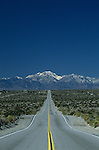 Dillon road, wavy road, up and down road with San Bernadino Mountains in background, Palm Springs, California State USA