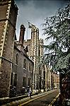 Narrow street in city of Cambridge  England