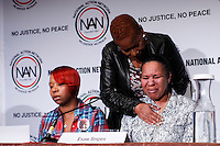 "Valerie Bell embraces Esaw Snipes (R),wife of Eric Garner while they  takes part in the ""Impact of Police Brutality"" panel during the 2015 NAN Convention in New York City. 04.08.2015. Kena Betancur/VIEWpress."