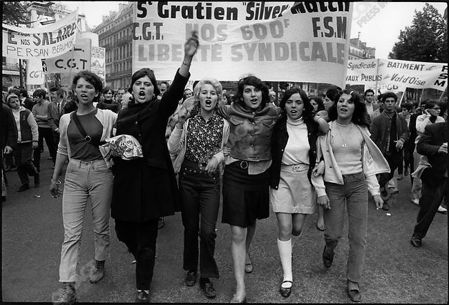 CGT Union organized demonstration, place de la République, Paris, France, May 29, 1968