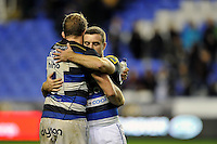 Stuart Hooper and George Ford of Bath Rugby embrace after the match. Aviva Premiership match, between London Irish and Bath Rugby on November 7, 2015 at the Madejski Stadium in Reading, England. Photo by: Patrick Khachfe / Onside Images