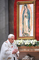 Pope Benedict XVI leads a Holy Eucharist for the 200th anniversary of the independance of Latin America countries in memory of the Lady of Guadelupe on December 12, 2011 at St Peter's basilica at The Vatican.