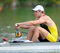 Ottensheim, AUSTRIA. AUS JM2-, Stroke,  Matthew DIGNAN, in the opening stroke of the pairs, morning heat at the 2008 FISA Senior and Junior Rowing Championships,  Linz/Ottensheim. Wednesday,  23/07/2008.  [Mandatory Credit: Peter SPURRIER, Intersport Images] Rowing Course: Linz/ Ottensheim, Austria
