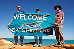 Bob Brown ex Greens Leader, Jeff Hansen director of Australias Sea Shepherd and Martin Pritchard, director of Environs Kimberley, holding a banner Welcome Sea Shepherd at Gantheaume Point in Broome WA