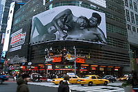 A Calvin Klein billboard in Times Sqaure New York on Saturday, December 19, 2009 features the actress Eva Mendes.  Klein's advertisements use sex and provocative images to test society's cultural and moral boundries. (© Richard B. Levine)