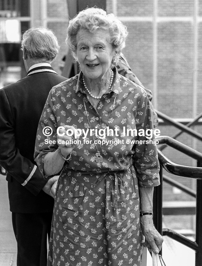 Dowager Duchess of Abercorn, widow of the 4th Duke of Abercorn, at summer graduation ceremony at New University of Ulster, Coleraine,  July, 1982. 19820700104DDA.<br /> <br /> Copyright Image from Victor Patterson, 54 Dorchester Park, Belfast, UK, BT9 6RJ<br /> <br /> t1: +44 28 9066 1296 (from Rep of Ireland 048 9066 1296)<br /> t2: +44 28 9002 2446 (from Rep of Ireland 048 9002 2446)<br /> m: +44 7802 353836<br /> <br /> e1: victorpatterson@me.com<br /> e2: victorpatterson@gmail.com<br /> <br /> www.victorpatterson.com<br /> <br /> IMPORTANT: Please see my Terms and Conditions of Use at www.victorpatterson.com