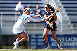 DURHAM, NC - FEBRUARY 26: Notre Dame's Savannah Buchanan (8) and Duke's Maddie Crutchfield (23). The Duke University Blue Devils hosted the University of Notre Dame Fighting Irish on February, 26, 2017, at Koskinen Stadium in Durham, NC in a Division I College Women's Lacrosse match. Notre Dame won the game 12-11.