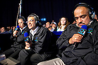 'Experts' provide live commentary to the television audience during a fight. Lucha Libre is a style of wrestling started in Mexico in 1933. The name means Free Fight, and matches tend to be focussed on spectacle and theatre with fans cheering for their favourite characters, who wear masks while jumping from the ropes, flipping opponents, and occasionally crashing into the crowd..&copy;Jacob Silberberg/Panos/Felix Features.
