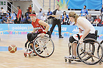 November 18 2011 - Guadalajara, Mexico:   Cindy Ouellet of Team Canada goes for the ball while taking on Team USA in the Gold Medal Game in the CODE Alcalde Sports Complex at the 2011 Parapan American Games in Guadalajara, Mexico.  Photos: Matthew Murnaghan/Canadian Paralympic Committee