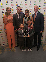 03/06/2014  <br />   Gavin Kelly and Liam Kelly with parents Ciara Kelly &amp; Philip Kelly who recieved the Child of Courage award from  Anna Daly &amp; DJ Carey<br /> during the Pride of Ireland awards at the Mansion House, Dublin.<br /> Photo: Gareth Chaney Collins
