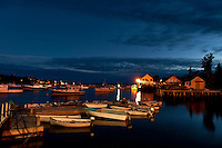 Bernard harbor at night, Maine, USA