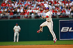 27 Sept 2008: Philadelphia Phillies second baseman Chase Utley #26 throws the ball during the game against the Washington Nationals on September 27th, 2008. The Phillies won 4-3 to clinch the National League Eastern Division title at Citizens Bank Park in Philadelphia, Pennsylvania