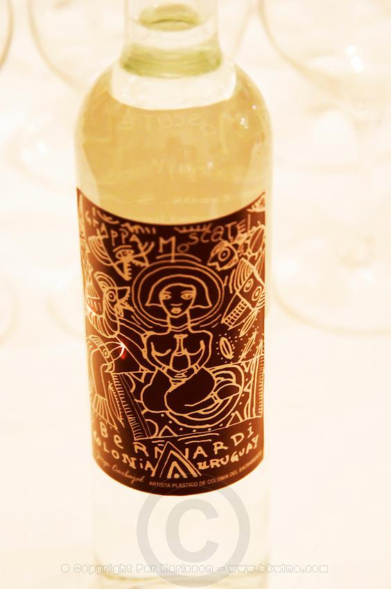 Bottle of Grappa Moscatel Bernardi Colonia Uruguay with a design label Uruguay, South America