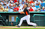 13 March 2012: Miami Marlins outfielder Bryan Petersen in action during a Spring Training game against the Atlanta Braves at Roger Dean Stadium in Jupiter, Florida. The two teams battled to a 2-2 tie playing 10 innings of Grapefruit League action. Mandatory Credit: Ed Wolfstein Photo
