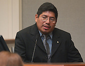 Carlos Cruz, husband of sniper victim Sarah Ramos, testifies during the trial of Muhammad in courtroom 10 at the Virginia Beach Circuit Court in Virginia Beach, Virginia on October 28, 2003. <br /> Credit: Adrin Snider - Pool via CNP