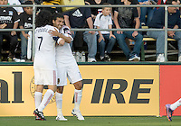 Javier Morales of Real Salt Lake celebrates with Fabian Espindola of Real Salt Lake after Morales scored a goal during the game against Earthquakes at Buck Shaw Stadium in Santa Clara, California on March 27th, 2010.   Real Salt Lake defeated San Jose Earthquakes, 3-0.