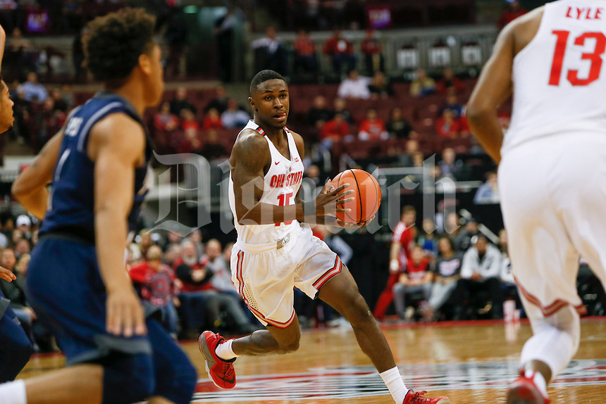 Ohio State Buckeyes guard Kam Williams (15) moves the ball during the first half of The Ohio State University's game against Jackson State University at the Schottenstein Center on the evening of Wednesday, November 23, 2016. (Dispatch photo by Tyler Stabile)