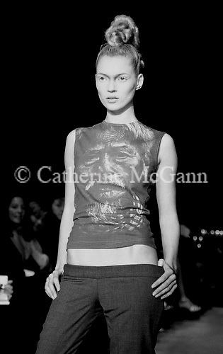March 1996:  Kate Moss  at Alexander McQueen's first fashion show in New York.  The collection was shown in a former synagogue on Norfolk Street (now the Angel Orensanz Foundation Center for the Arts) on the Lower East side in New York City, New York.