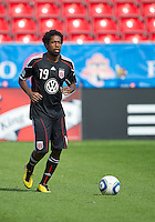 August 21 2010 D.C. United midfielder Clyde Simms #19 in action during the warm-up in a game between DC United and Toronto FC at BMO Field in Toronto..DC United won 1-0.