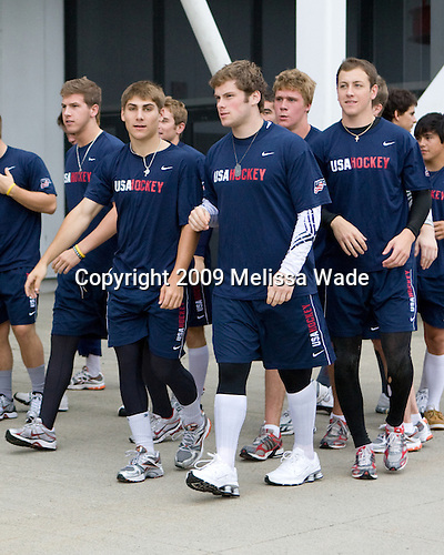 Matt Donovan (US Blue - 7), Ryan Bourque (US Blue - 10), Kenny Ryan (US Blue - 20), Jake Gardiner (US Blue - 8), Derek Stepan (US Blue - 22) - Team White and Team Blue warm up outside the rinks prior to their third scrimmage of the 2009 USA Hockey National Junior Evaluation Camp on Sunday, August 9, 2009, in Lake Placid, New York.