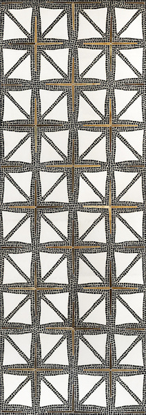 Bronze in Mosaic / Indus stone water jet mosaic in tumbled Nero marquina, honed Thassos, and bronze. James Duncan for New Ravenna Mosaics