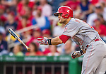 21 May 2014: Cincinnati Reds catcher Devin Mesoraco in action against the Washington Nationals at Nationals Park in Washington, DC. The Reds edged out the Nationals 2-1 to take the rubber match of their 3-game series. Mandatory Credit: Ed Wolfstein Photo *** RAW (NEF) Image File Available ***