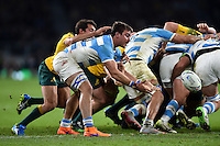 Facundo Isa of Argentina passes the ball. Rugby World Cup Semi Final between Argentina v Australia on October 25, 2015 at Twickenham Stadium in London, England. Photo by: Patrick Khachfe / Onside Images