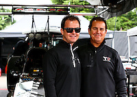 Aug. 4, 2013; Kent, WA, USA: NHRA top fuel dragster driver Steve Torrence (left) with father Billy Torrence during the Northwest Nationals at Pacific Raceways. Mandatory Credit: Mark J. Rebilas-USA TODAY Sports