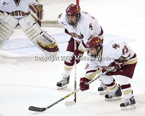 Tim Kunes (Boston College - Huntington, NY), Pat Gannon (Boston College - Arlington, MA) - The Boston College Eagles defeated the University of New Hampshire Wildcats 4-2 on BC's senior night, Saturday, March 3, 2007, at Kelley Rink at Silvio O. Conte Forum in Chestnut Hill, Massachusetts.
