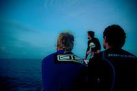 MICHAEL CAMPBELL (AUS), KIEREN PERROW (AUS) and BEN DUNN (AUS)  at  Teahupoo, Tahiti, (Friday May 15 2009.) Photo: joliphotos.com