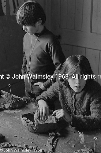 Clay modelling, Art room, Summerhill school, Leiston, Suffolk, UK. 1968.