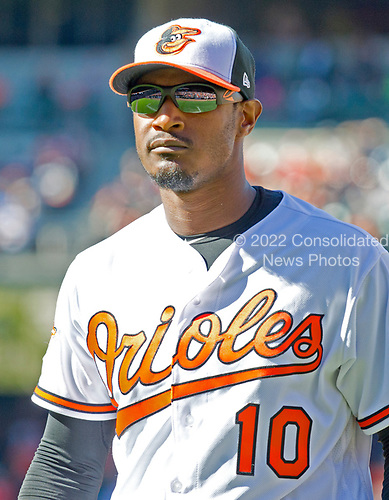 Baltimore Orioles center fielder Adam Jones (10) returns to the dugout in the middle of the eighth inning against the New York Yankees at Oriole Park at Camden Yards in Baltimore, MD on Sunday, April 9, 2017.  The Yankees won the game 7 - 3. <br /> Credit: Ron Sachs / CNP<br /> (RESTRICTION: NO New York or New Jersey Newspapers or newspapers within a 75 mile radius of New York City)