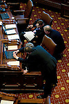 Illinois Senate Republicans confer during a recess of Gov. Rod Blagojevich's Senate impeachment trial at the Illinois State Capitol in Springfield, Ill. The Senate Republicans raised questions about why the number of witnesses was reduced..Kristen Schmid Schurter