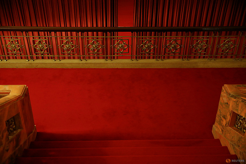 Red curtains divide interior of the Great Hall of the People where sessions of the National People's Congress (NPC) and the Chinese People's Political Consultative Conference (CPPCC) are taking place, in Beijing, China March 6, 2016.   REUTERS/Damir Sagolj