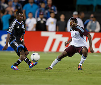 Santa Clara, California - Saturday August 25th, 2012: San Jose Earthquakes' Marvin Chavez kicks the ball away from Colorado Rapids' Marvell Wynne during a game at Buck Shaw Stadium, Stanford, Ca    San Jose Earthquakes defeated Colorado Rapids 4 - 1