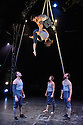 London, UK. 11.01.2016. Ockham's Razor present TIPPING POINT, at Platform Theatre, as part of the London International Mime Festival. Picture shows: Alex Harvey, Emily Nicholl (aloft), Nich Glazin, Telma Pinto, Steve Ryan. Photograph © Jane Hobson.